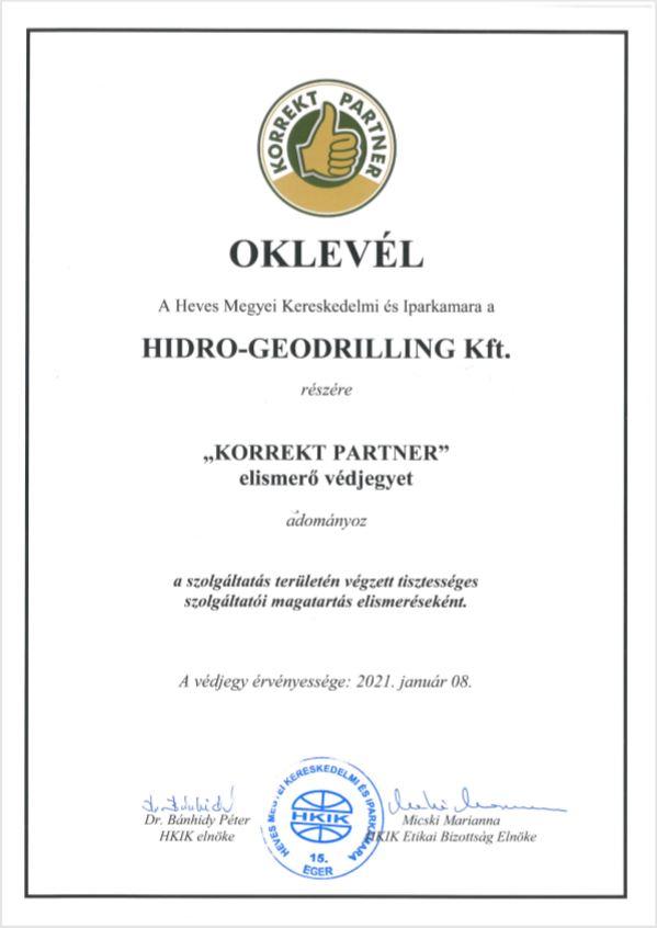 Korrekt partner védjegy - HGD Kft.